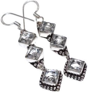 Other New 925 Silver Crystal Quartz Earrings 2.5