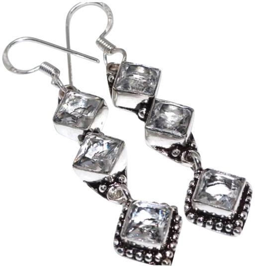 "Other New 925 Silver Crystal Quartz Earrings 2.5"" Image 0"