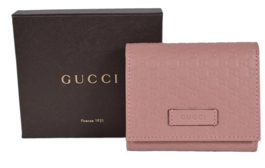 Gucci New Gucci 510317 Pink Leather Micro GG Guccissima Small French Wallet
