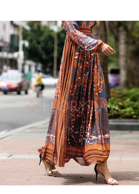 Orange Maxi Dress by Floryday Maxi Longsleeve Floral