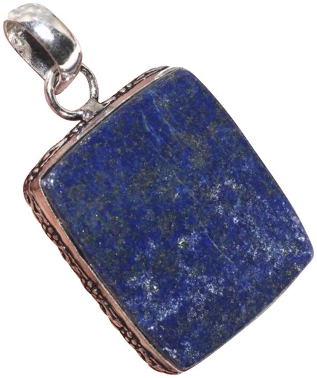 "Blue and Silver New Lapis Lazuli Pendant 1.9"" Image 0"