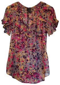 Ella Moss Silk Short Sleeve Top Multicolor