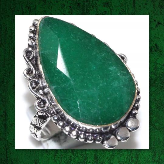 Other New Green Emerald 925 Silver Ring Sz 8.5