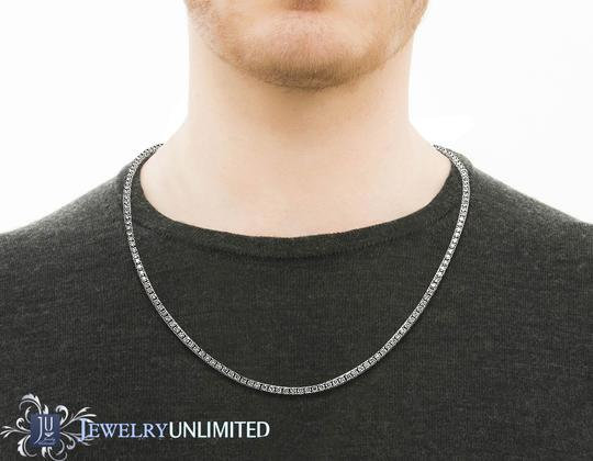 Jewelry Unlimited Mens 10K White Gold 1 Row Diamond Chain Chocker Tennis Necklace 22