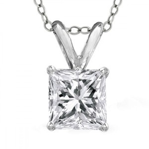 Madina Jewelry White 1.00 Ct Ladies Princess Cut Diamond Solitaire Pendant Necklace