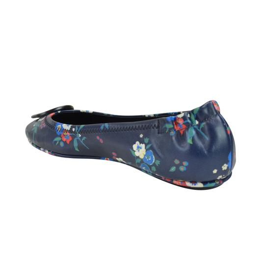 Tory Burch Travel Ballet Slip On Floral 7.5 Blue Pansy Bouquet Flats