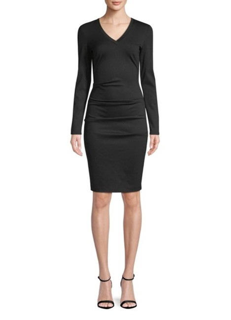Preload https://img-static.tradesy.com/item/23926975/nicole-miller-black-v-neck-mid-length-cocktail-dress-size-12-l-0-0-650-650.jpg