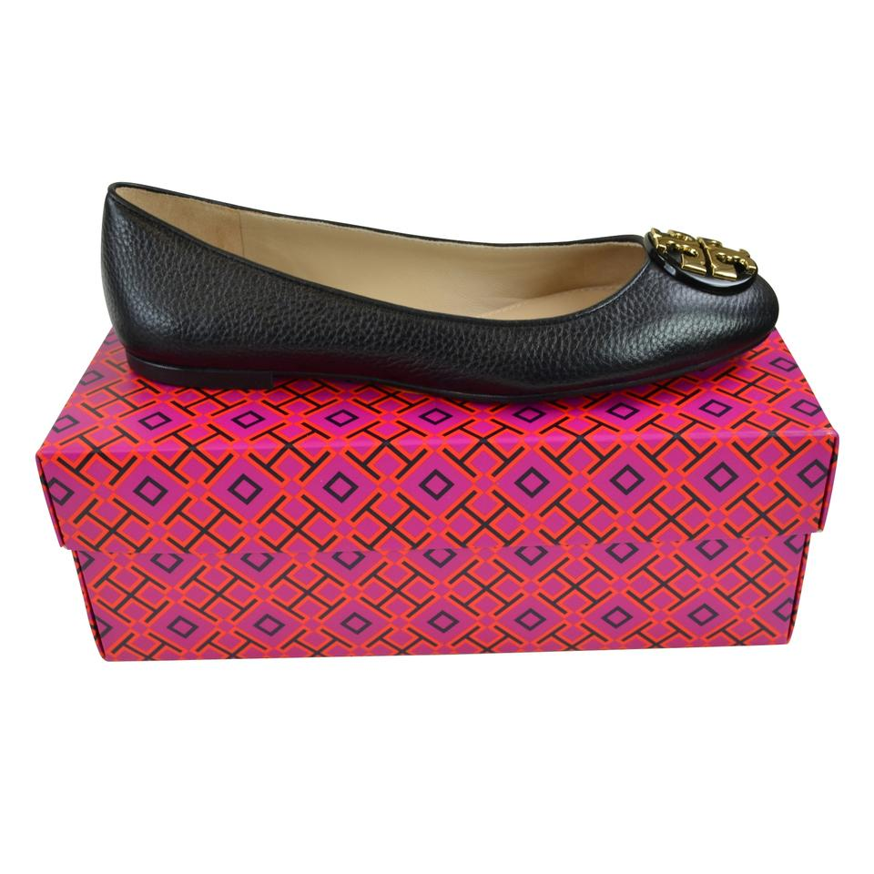 a2b8992c9 Tory Burch Black  Gold Claire Reva Leather Ballet Black  Flats Size ...
