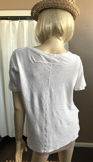 Free People Hi Lo Scoop Neck Sleeve Cotton T Shirt Off white