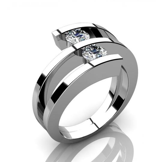 Madina Jewelry White 0.60 Ct Two Round Cut Diamonds Anniversary Ring Available In Any Size Women's Wedding Band