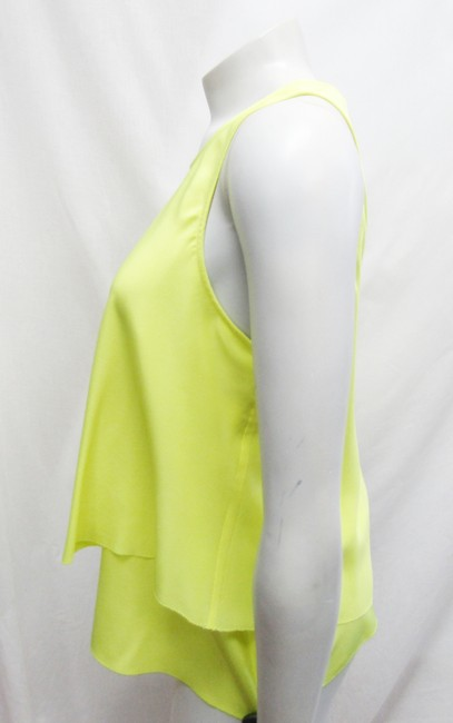 Trina Turk Kesso Tiered Silk Layered Lime Yellow Halter Top