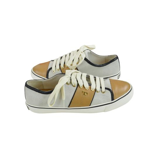 Tory Burch Sneakers Slip On Leather 9.5 Ivory/ Honey Wheat Athletic