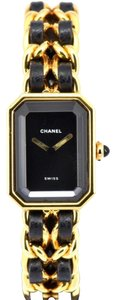 Chanel Rare Vintage Chanel Premiere M Gold Black Leather Quartz Watch