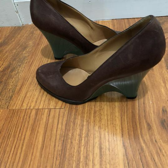 Marni Brown with Blue Wedge Platforms