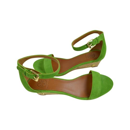 Tory Burch Suede 8.5 Open Toe Leaf Green Wedges