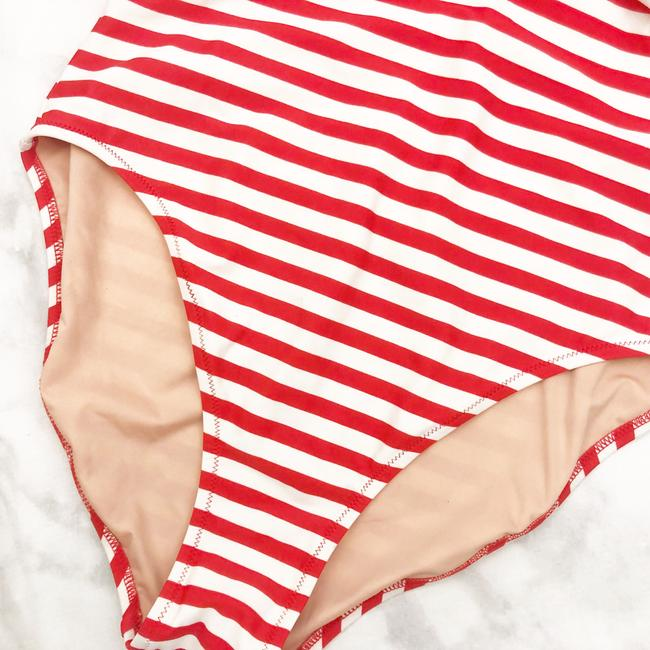 J.Crew Red and white striped tie back cross strap one piece