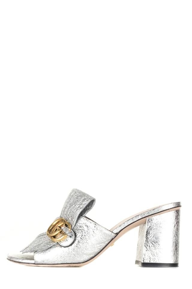 8755b0f47ee7 Gucci Silver Marmont Metallic Mules Slides Size EU 39 (Approx. US 9 ...