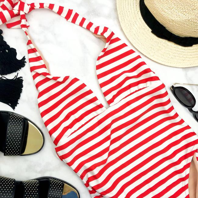 J.Crew red and white striped halter plunge front one piece