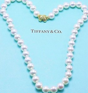 Tiffany & Co. Akoya Cultured Pearl Signature 18k Yellow Gold Appraisal Necklace