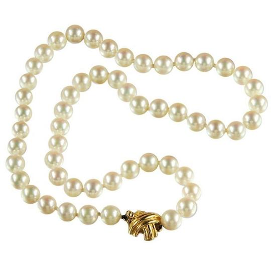 Tiffany & Co. Akoya Cultured Pearl Signature 18k Yellow Gold Appraisal Necklace Image 1