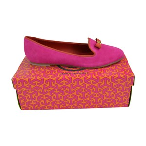 Tory Burch Mimi Suede Slippers Slip On Dark Fuchsia/ Salsa Flats