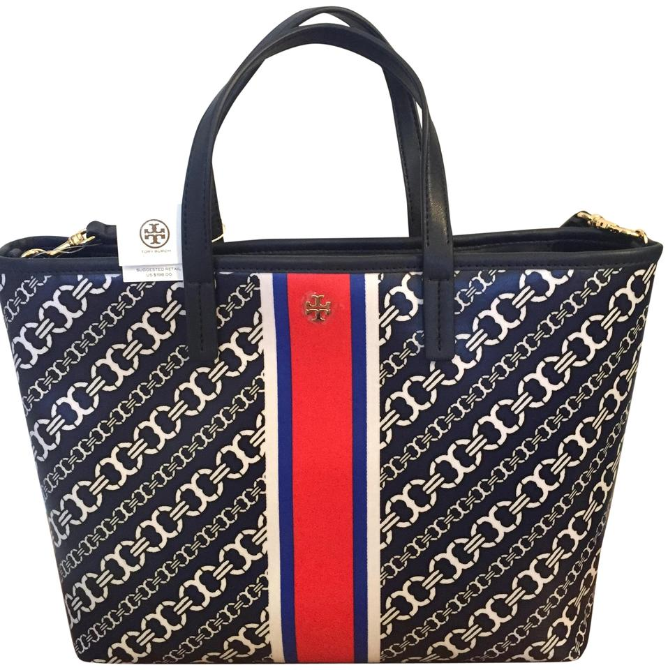 Tote Burch Navy Link Gemini Coated Tory Small Canvas Gemini Link BwTRx4qq6