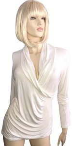 Soft Surroundings Cinched Wrap Stretchy Top Ivory