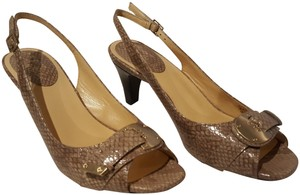 Cole Haan Snakeskin Leather Taupe Pumps