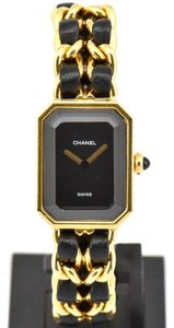 Chanel Rare Vintage Chanel Premiere L Gold Black Leather Quartz Watch