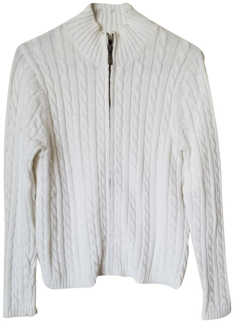 Preload https://img-static.tradesy.com/item/23927500/llbean-white-cable-knit-zip-down-sweaterpullover-size-4-s-0-1-650-650.jpg