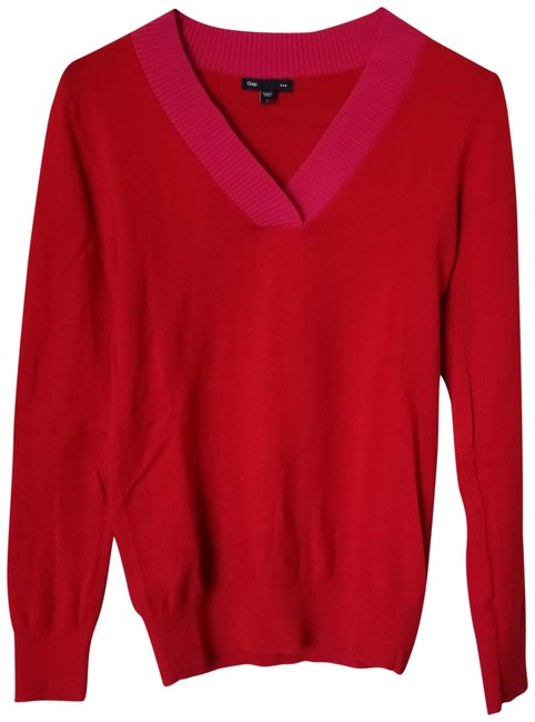 Preload https://img-static.tradesy.com/item/23927508/gap-red-and-hot-pink-v-neck-long-sleeve-with-collar-accent-sweaterpullover-size-4-s-0-1-650-650.jpg