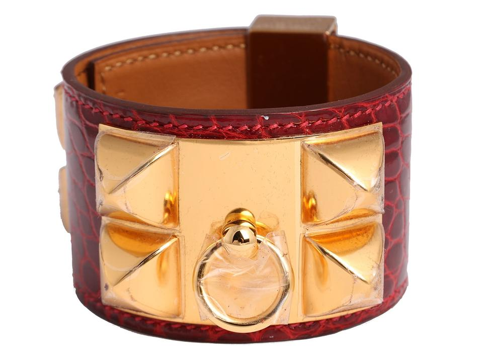 fac1eb47346 Hermès Rouge H Shiny Alligator Collier de Chien CDC Cuff Bracelet ...
