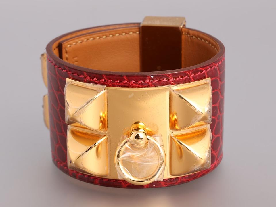 1cf5a8a0145 Hermès Red Rouge H Shiny Alligator Collier De Chien Cdc Cuff Bracelet -  Tradesy