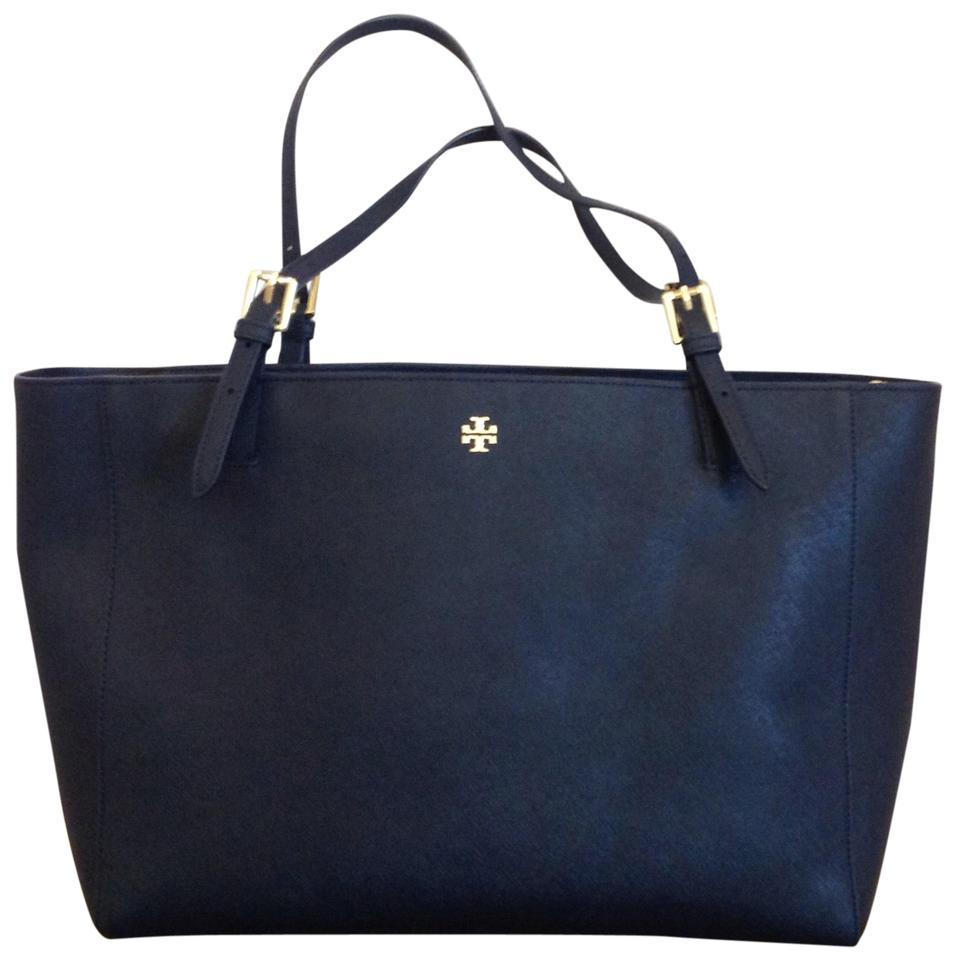 5e744360d5d Tory Burch Large Buckle York Navy Leather Tote - Tradesy