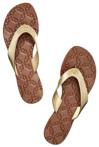 Tory Burch Flats Metallic Gold Sandals