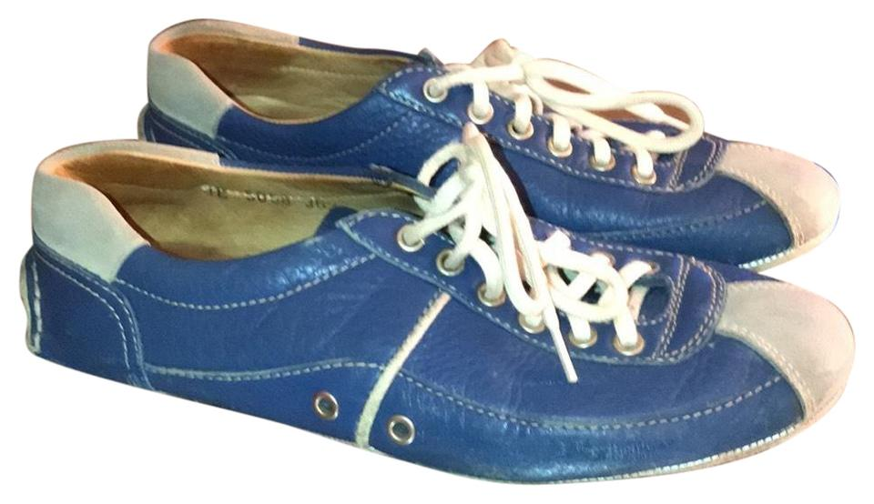 Prada Blue Flats Leather with Suede Detail Flats Blue c58f0a