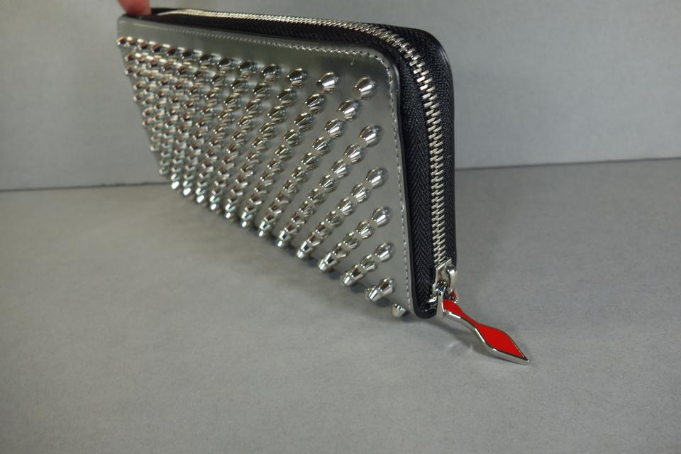 9b8500ed216 Christian Louboutin Silver Clutch Panettone Patent Zip Around Spikes  Continental New Wallet 19% off retail