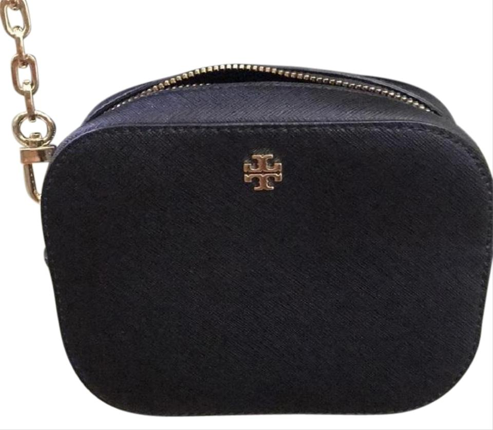 Dustbag New Tory Round Burch Camera Cross Body Leather Bag Black with 5C5qtwrxU