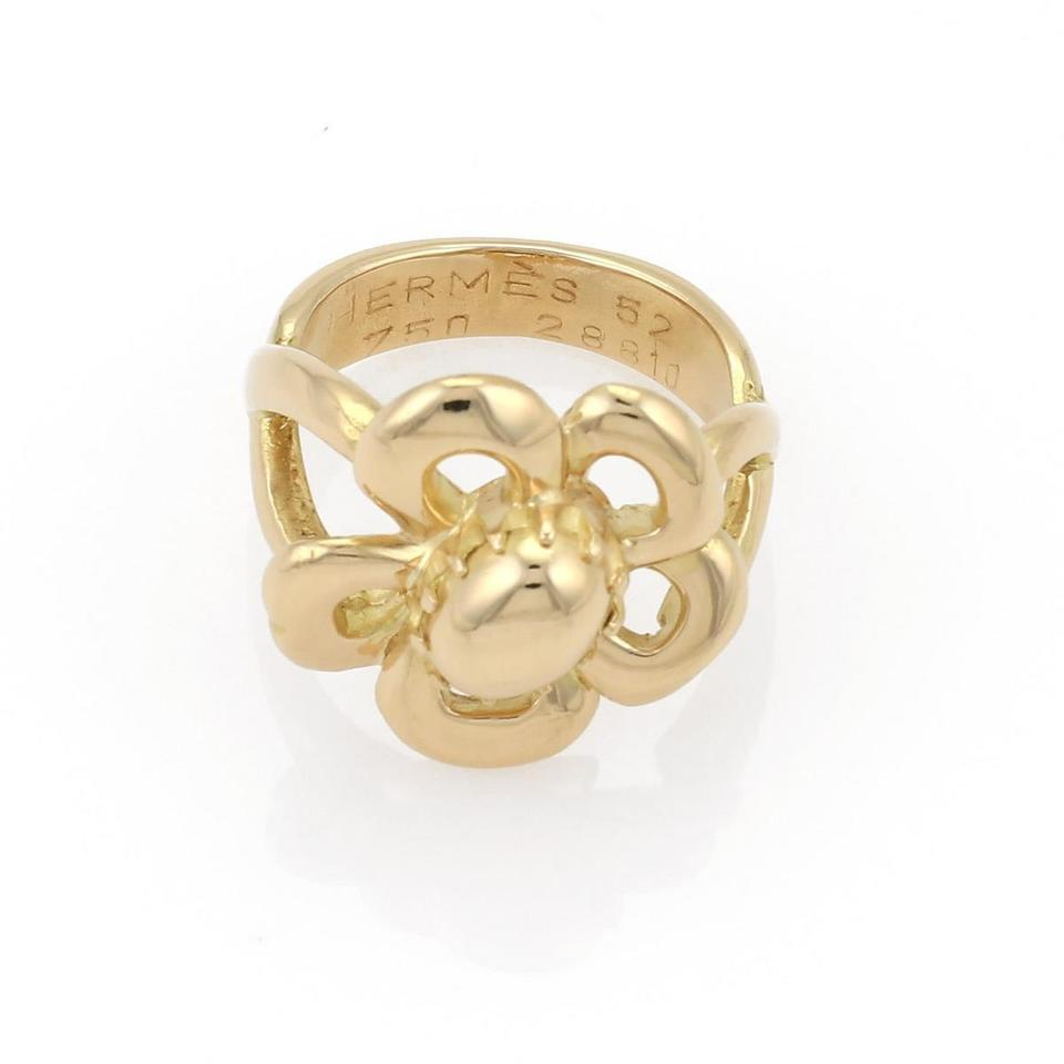 Herms ring france 18k yellow gold flower size 52 us 55 ring tradesy herms france 18k yellow gold flower ring size 52 us 55 mightylinksfo