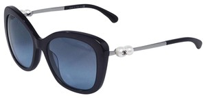 Chanel CHANEL Blue Acetate Oversized Frame Pearl CC Sunglasses-5339-H