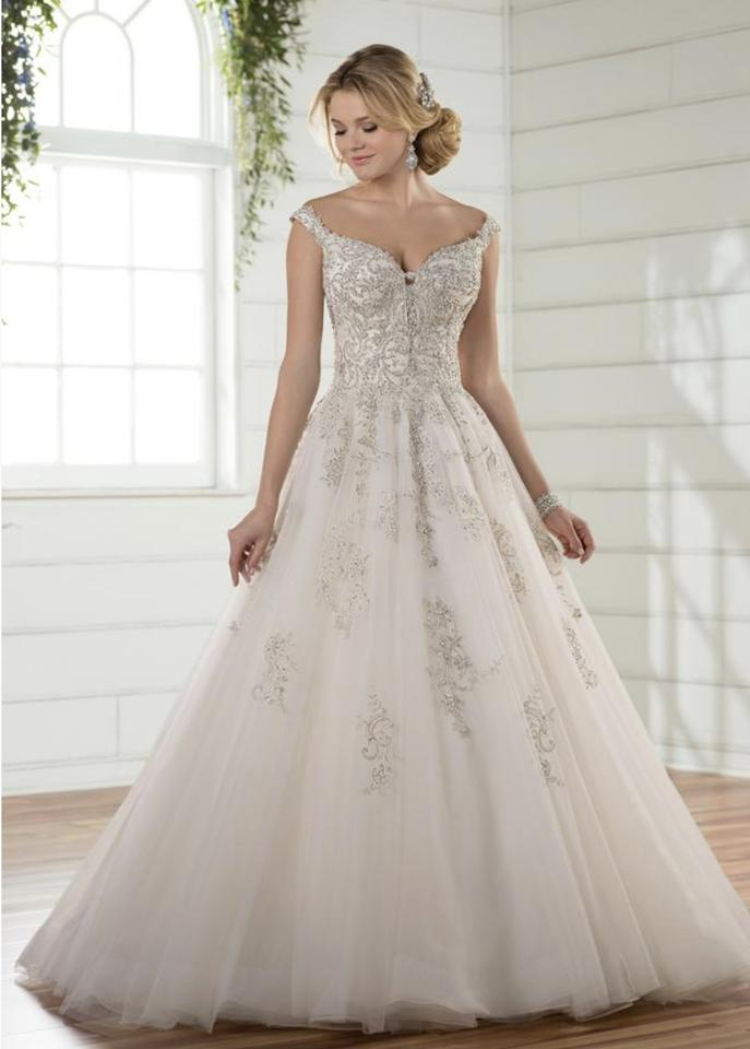 8fd59264653 Essense of Australia Ivory Silver Lace Over Antique Ivory D2379 Formal Wedding  Dress