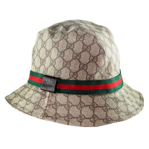 Gucci Monogram Coated Canvas PVC Leather GG Signature Webby Hat 6469