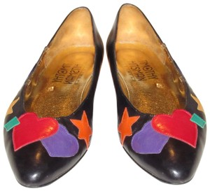 Timothy Hitsman Dressy Or Casual Almond Shaped Toes Mint Condition Star/Hearts navy leather with colorful leather heart, star, and bow patches Flats