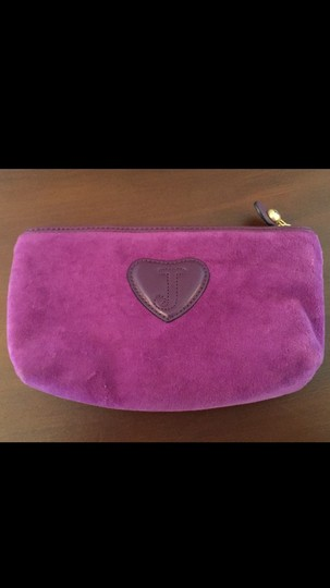 Juicy Couture Velvet Cute Hearts Magenta Clutch Image 1