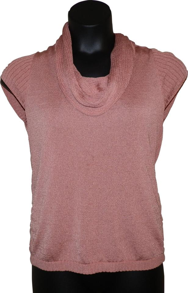 5238b9154627 Jones New York Collection Cowl Neck Short Sleeve Pink Sweater - Tradesy