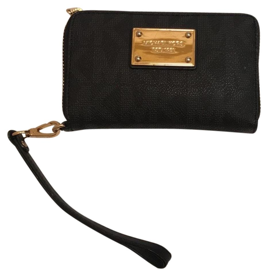 9f7f234cfaa7 MICHAEL Michael Kors Mk Monogram Black Coated Canvas Wristlet - Tradesy