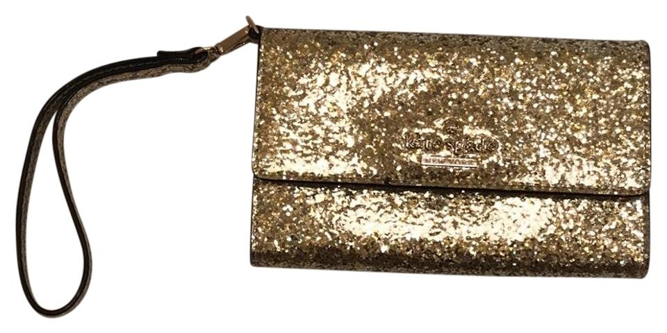 more photos 43aa1 6a2e9 Kate Spade Tech Wallet Gold Glitter Coated Wristlet 54% off retail