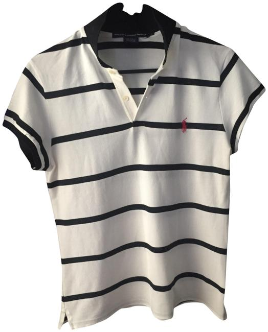 Item - White with Blue Stripe Tee Shirt Size 10 (M)