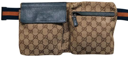 bc3dfdef5 Gucci Monogram Fanny Pack Brown and Blue Canvas Leather Trim Cross ...