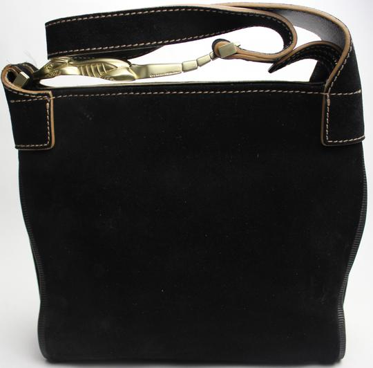 Barry Kieselstein-Cord Gold Hardware Crocodile Nubuck Suede Leather Tote in Black